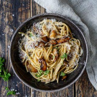 Kremet spaghetti med sopp