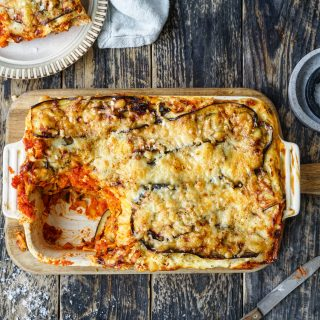 Lasagne med aubergine og ostesaus