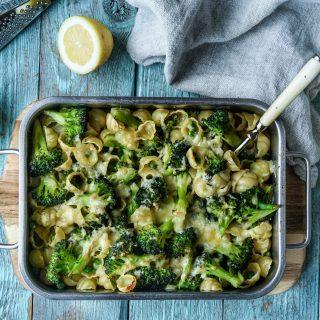 Gratinert pasta og brokkoli