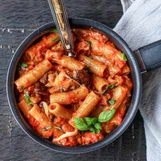 One pot pasta med sopp