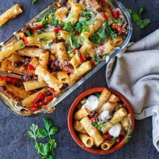 Gratinert pasta med meksikanske smaker
