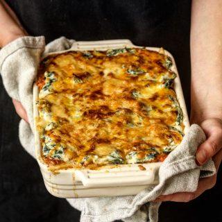 Lasagne med 4 oster og spinat